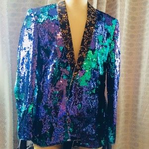 Other - NWT Men's Sequin Blazer Purple-Blue size XL